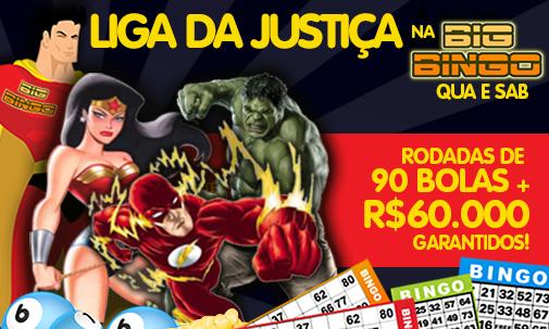 Liga da Justiça na Sala Big Bingo - Novas rodadas de 90 Bolas