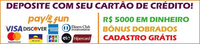 Deposite com Cartão, ganhe R$ 5000 e Bônus dobrados!
